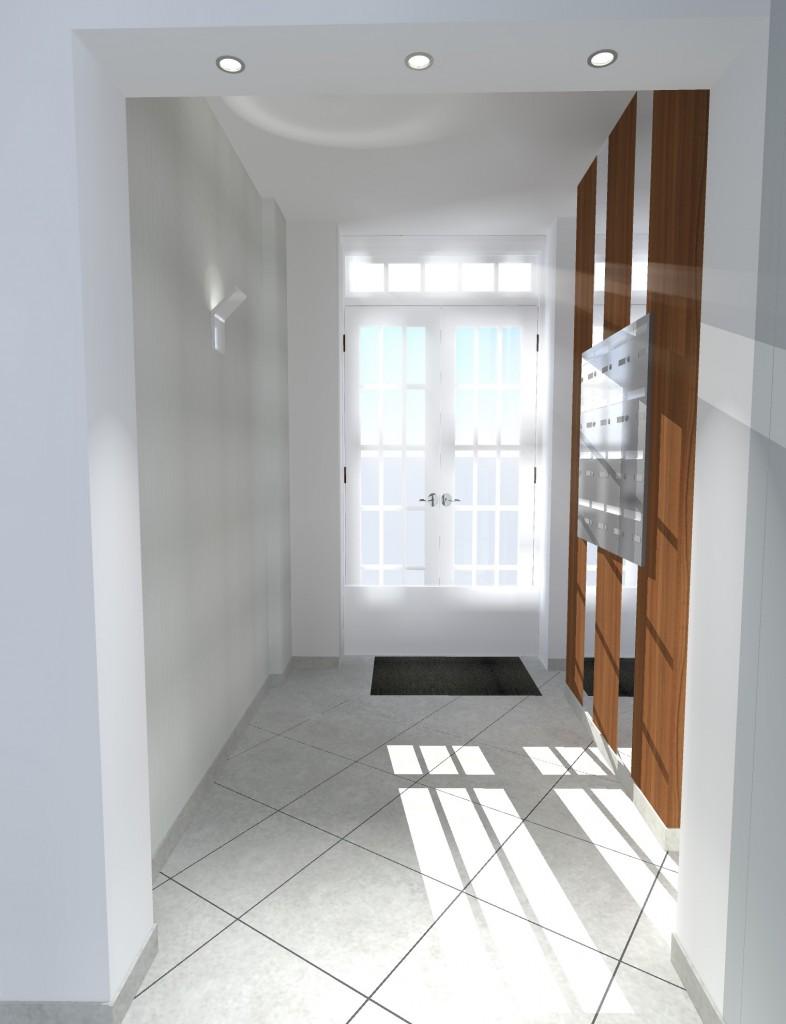 Vues 3D Habillage bois et miroir pour hall entrée immeuble Nantes Centre Ville