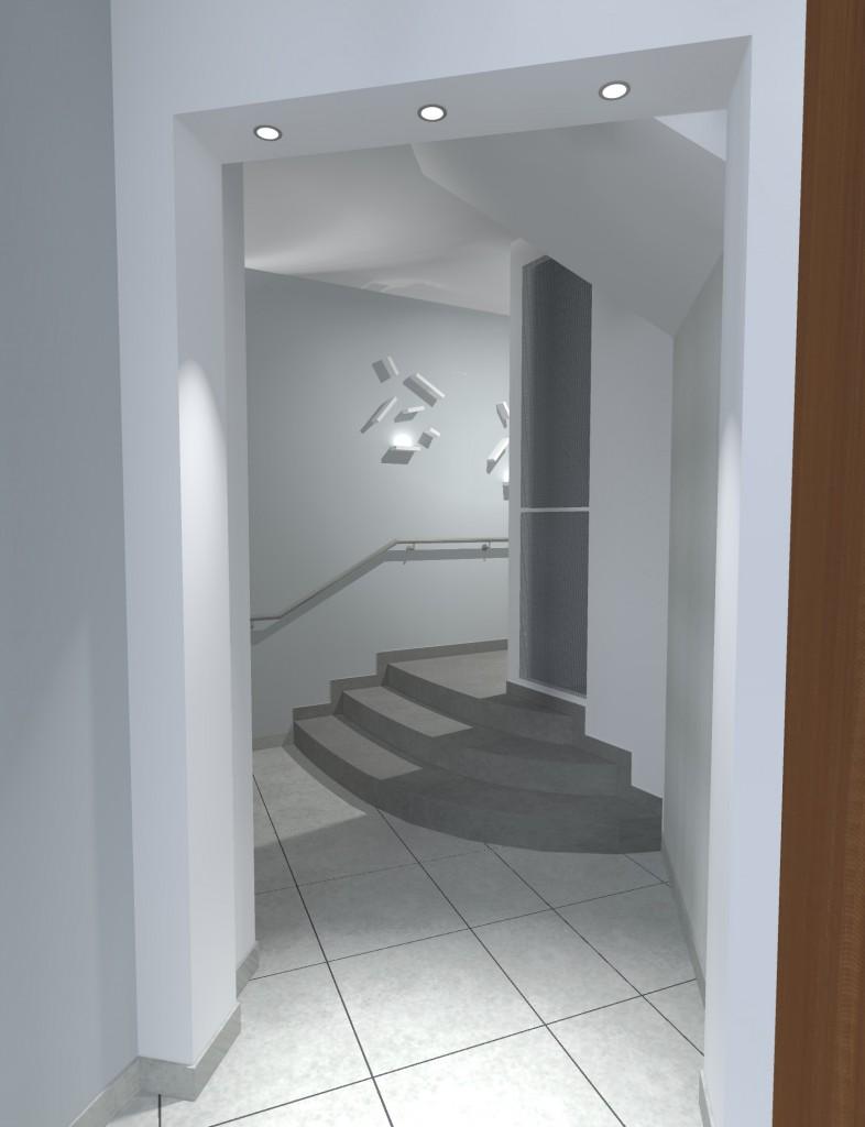 Vues 3D vers escalier et ascenseur Hall Entrée Immeuble Centre Ville Nantes