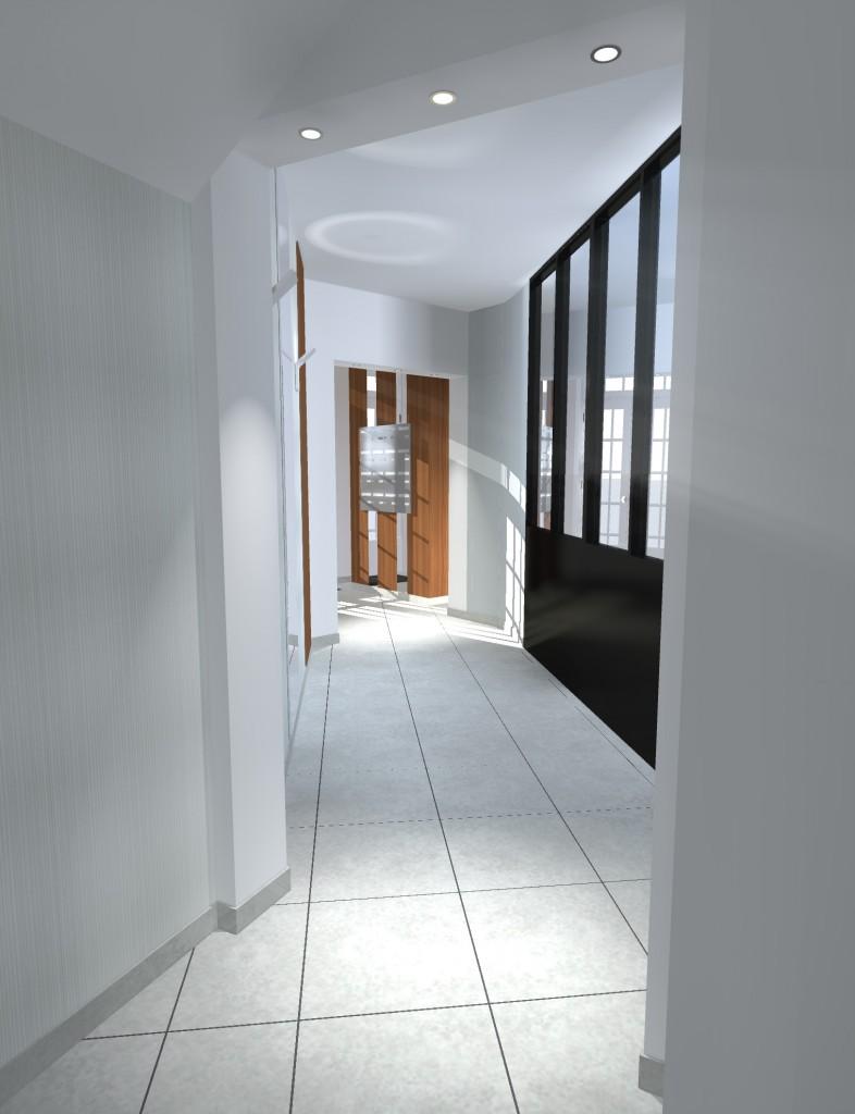 Vue 3D Hall d'entrée immeuble depuis fond hall - Nantes centre Ville