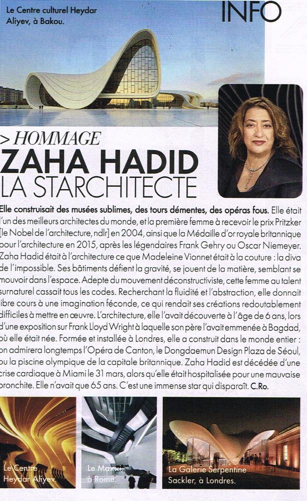 Disparition Zaha Hadid