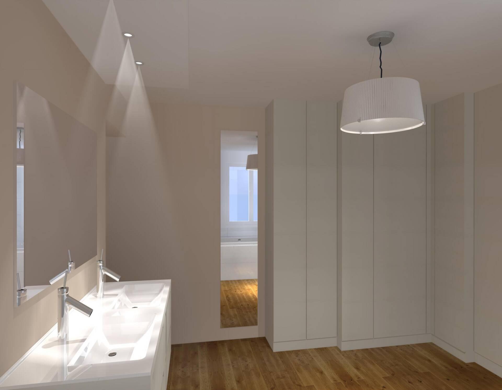 Vue 3D Rénovation salle de Bain Nantes par Amélie Beaumont, Décoratrice UFDI sur Nantes 44