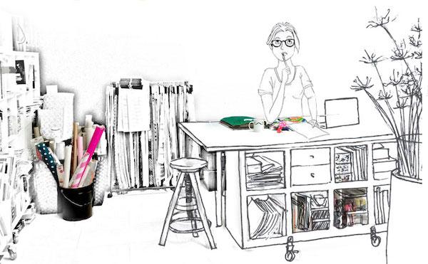 Le bureau d'Amélie Beaumont, Décoratrice UFDI à Nantes 44