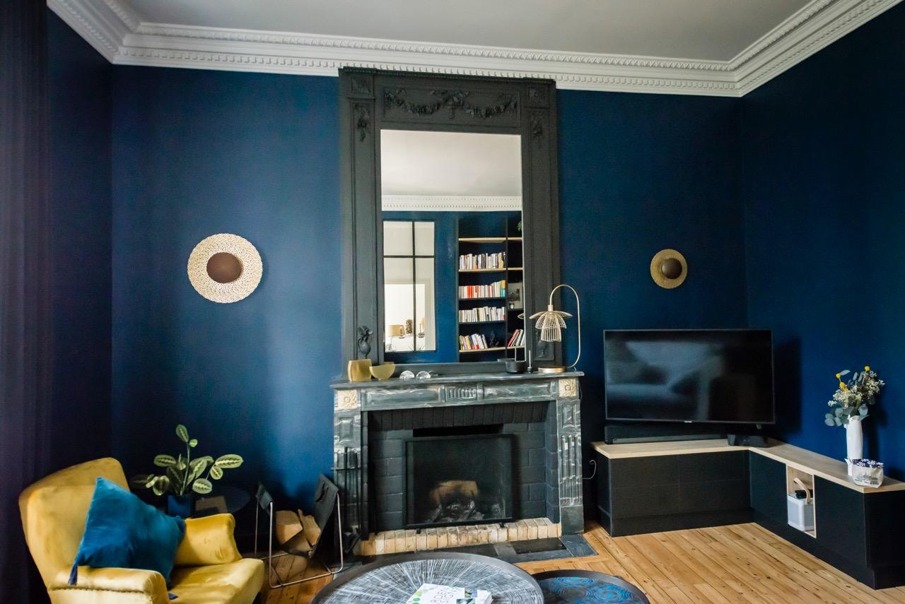 Rénovation maison nantaise par Amélie Beaumont, Décoratrice UFDI à Nantes et Pays de Loire 44 : Vue Salon coté cheminée