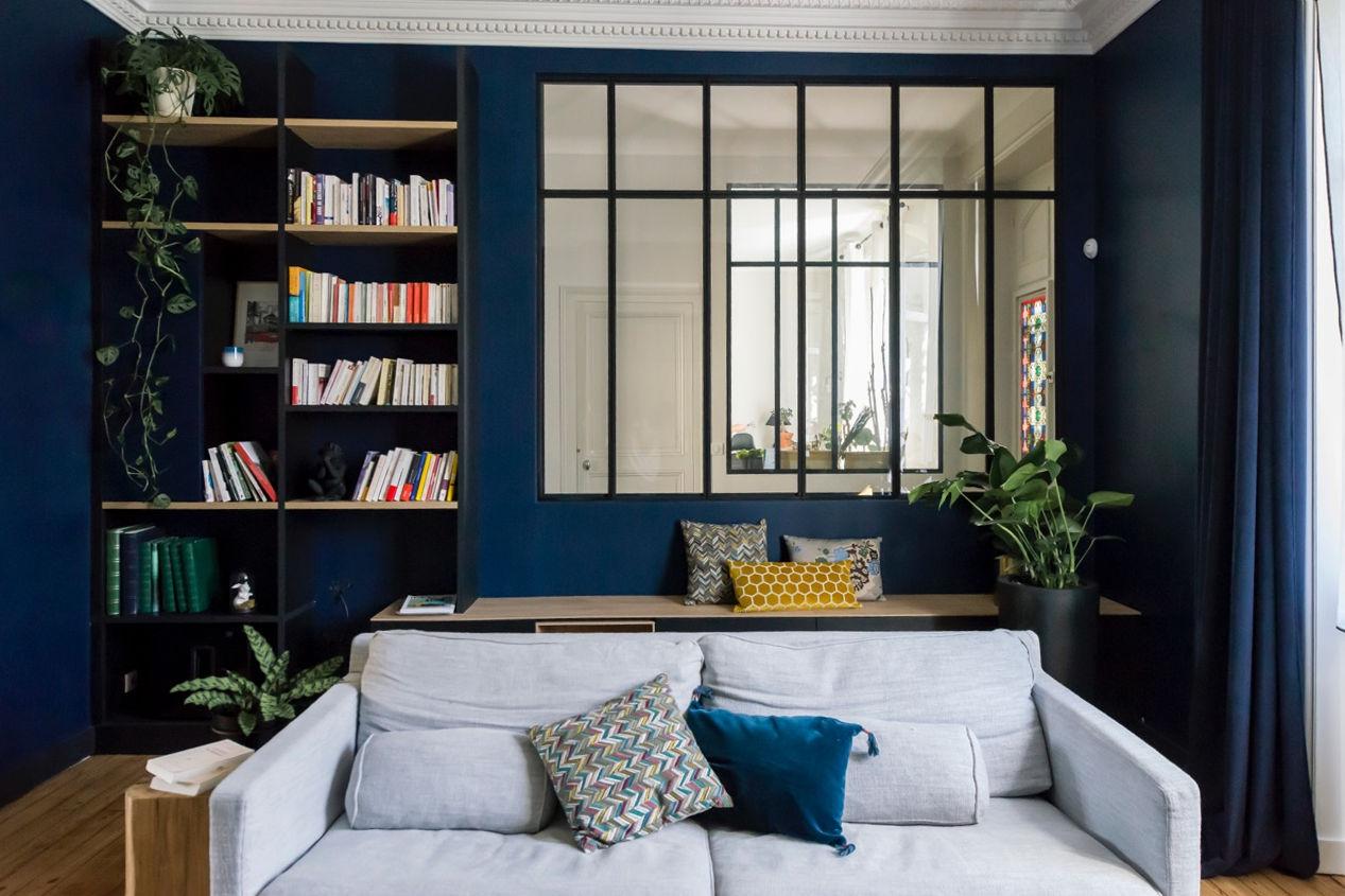 Rénovation maison nantaise par Amélie Beaumont, Décoratrice UFDI à Nantes et Pays de Loire 44 : Vue salon rénové avec aménagement sur mesure