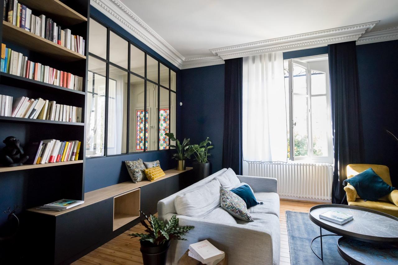 Rénovation maison nantaise par Amélie Beaumont, Décoratrice UFDI à Nantes et Pays de Loire 44 : Vue salon rénové